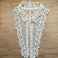 KQ_ DIY Lace Embroidered Flower Neckline Collar Trim Clothes Sewing Applique Pat