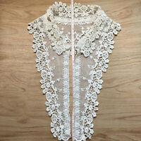 AU_ DIY Lace Embroidered Flower Neckline Collar Trim Clothes Sewing Applique Pat