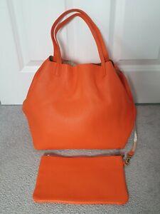 Marc Cain Orange & Gold Leather Shopper Shoulder Bag Handbag PERFECT