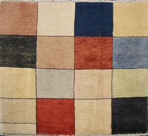 Checkered Gabbeh Kashkoli Contemporary Oriental Area Rug Hand-knotted 2x3 Carpet