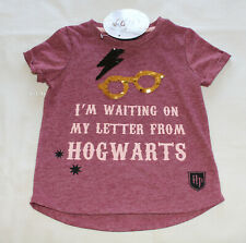 08acf8bb4 Harry Potter Girls Letter From Hogwarts Maroon Flip Sequin T Shirt Size 5  New