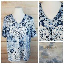 9bcacb85d01 Alia Petite PL Blue   White Stud Embellished Floral Top Pleated V-Neck Short  Slv
