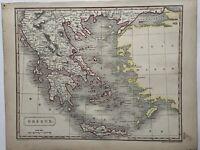 1819 Greece Original Antique Hand Coloured Map by Aaron Arrowsmith
