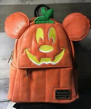 Disney Parks Loungefly Mickey Mouse Pumpkin Halloween Mini Backpack - New