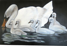Beautiful White Swans Oil on Black Canvas Original Painting