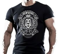ONLY STRONG LION TRAINING MENS BODYBUILDING T-Shirt MMA WORKOUT CLOTHING TOP