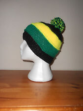Black green yellow bobble Hat Nothampton saints rugby colours