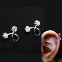 Stainless Steel Crystal Twist Ear Cartilage Helix Body Piercing Earring Stud H7