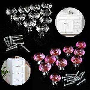 10pcs Crystal Glass Drawer Knobs Diamond Shaped Kitchen Cabinet Door Pull Handle