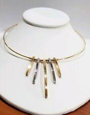 Designer 18k Yellow Gold Wire Choker Necklace 2 Tone Polished Bars Pendant