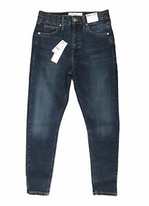 Topshop Jamie High Waisted Skinny Petite Blue Jeans Size10 W28 L28 BNWT RRP £40