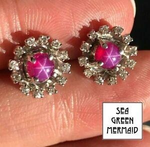14k White Gold 3.0 TCW Red Star Ruby Earrings w 0.40 TCW Diamonds_b490_10_20