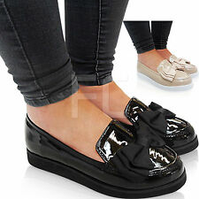 NEW LADIES LOW FLAT LOAFERS BOW SCHOOL WORK DOLLY SMART PUMPS SHOES OFFICE SIZE