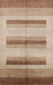 6x8 Striped Modern Gabbeh Oriental Area Rug Hand-knotted Contemporary Carpet