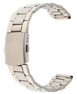 22mm Adjustable Silver Stainless Steel Clasp Watch Strap Band Metal 22 mm UK W3