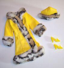 Vintage & MOD Barbie #1459 Yellow Vinyl GREAT COAT 1970 Faux Fur & Chunky Shoes