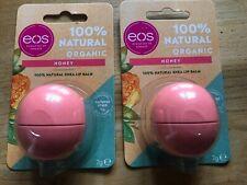2 x EOS Honey 100% Natural Organic Lip Balm 7g Brand New