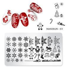 Nail Art Stamping Plates Image Plate Decoration Christmas Santa Snowflakes MAN03