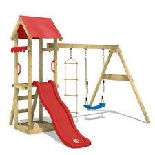 WICKEY Spielturm Kletterturm TinyCabin Garten Holz Schaukel rote Rutsche & Dach