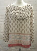 UK 14 Blouse Fabindia Boho Hippie Paisley Print Floaty Top Long Sleeve Peacocks