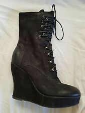BOUTIQUE 9 sz 9 Jana Black Leather Ankle Wedge Lace Up Boots
