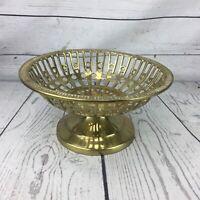 Solid Brass Bowl Reticulated Filigree Engraved Pierced Modern MCM Boho
