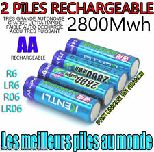 2 PILES ACCUS RECHARGEABLE AA 2800Mwh LITHIUM Li-ion 1.5V KENTLI R6 R06 LR06 LR6