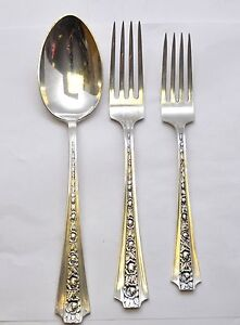 Frank Whiting Concord Sterling Talisman Rose 3pc Dinner Setting 2 Forks & Spoon
