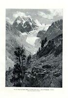 Mont Collon und Arollagletscher Wallis XL Kunstdruck 1906 E Platz Arolla Schweiz