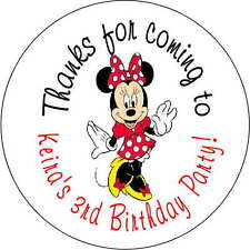 Minnie Mouse Red stickers Birthday Party 2.5 Inch Personalized Loot Bag sticker