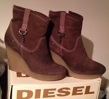 Diesel Brand New  Leather Wedges  Shoes Boots USA 8.5 EUR 39.5 JPN 25.5 Dust Bag