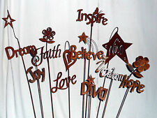 New listing Iron Cut Metal Set/4 Word Garden Plant Stake Landscape Yard Home Outdoor Decor