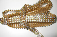 3mm chaton 3strip CLR GLD thermocollants crystal diamante bling bobine corde ruban bordure