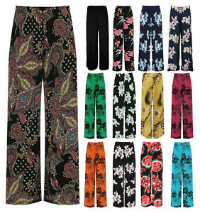 Womens Plus Size Floral Print Flared Wide Leg Palazzo Stretch Trouser Pants 8-26