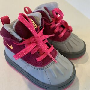 Nike ACG Woodside Winter Boots High Toddlers Pink Gray Suede 524878-601 Sz 5C