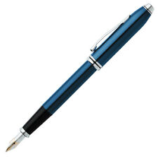 Cross 696-1MD Townsend Quartz Blue Lacquer Fountain Pen - Medium Nib