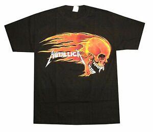 Metallica Flaming Skull 2007 Pushead Art Black T-Shirt NEW