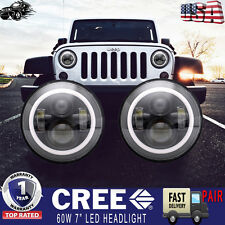 "2PCS 7"" CREE LED Headlight Halo Amber Turn Signal Jeep Wrangler JK CJ TJ Hummer"