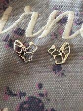 FREE GIFT BAG Silver Plated Squirrel Animal Stud Earrings Origami Cute Jewellery