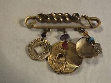 Beautiful Brooch Pin Gold Tone Bar Pin Dangling Coin Shapes French Indian Head