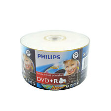 100 Philips Blank 16x White Inkjet Hub Printable DVD+R Plus R Disc Media