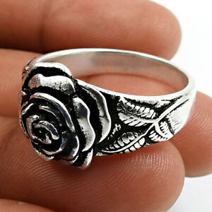 HANDMADE 925 Solid Sterling Silver Jewelry Rose Flower Ring Size 10 M39