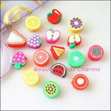35Pcs Mixed Handmade Polymer Fimo Clay Fruits Flat Spacer Beads Charms 10mm