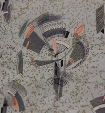 Vintage 50s Atomic Print Gray & Pink Bark Cloth Drape–Gold Specked–184(w)x78(h)