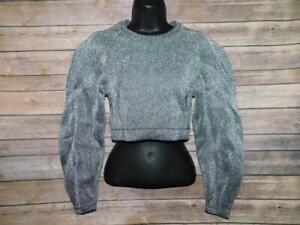 BCBG MaxAzria XS Metallic Silver Cropped Sweater Long Balloon Sleeve Crew Neck