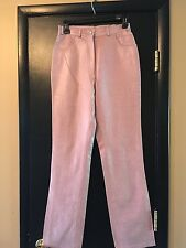 Paolo Santini Women's 6 High Waisted Ostrich Leather Pants NWT Dusty Rose Pink M
