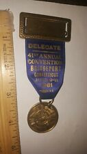 1961 MEDAL BADGE RIBBON VFW VETERANS FOREIGN WARS ANNUAL CONVENTION CONNECTICUT