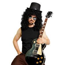 Heavy Metal SLASH Guns N Roses WIG TOP HAT Mirrored Sunglasses Costume