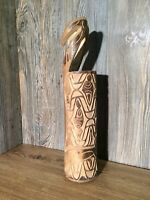 Vintage Arrow Quiver Tribal Carving Wood Bamboo Carved Tube Finely Detailed L4