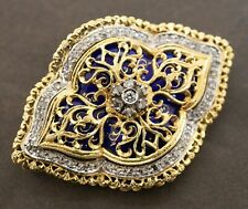 Toliro designer antique heavy 18K gold 1.50CTW diamond enamel brooch/pendant